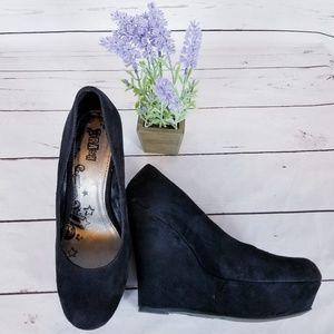 BRASH Black Platform Suede Wedge Heel 9.5